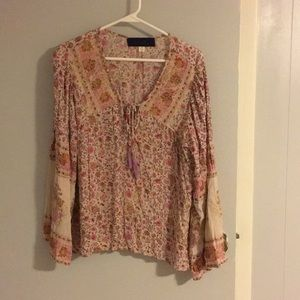 Pink Floral boho top size M
